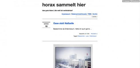 """""""horax sammelt hier"""" auf horax.cc"""